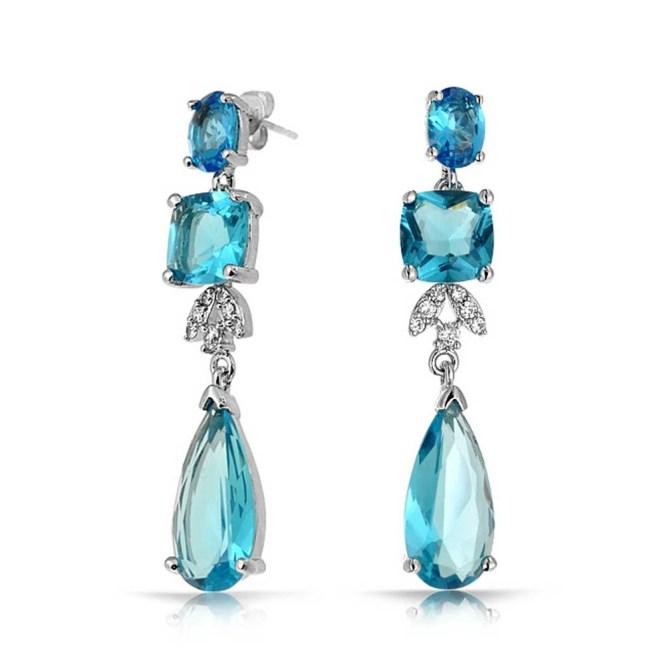 Blue Earrings Bling Jewelry Topaz Color Cz Square Teardrop Bridal Chandelier Gcnzxdt