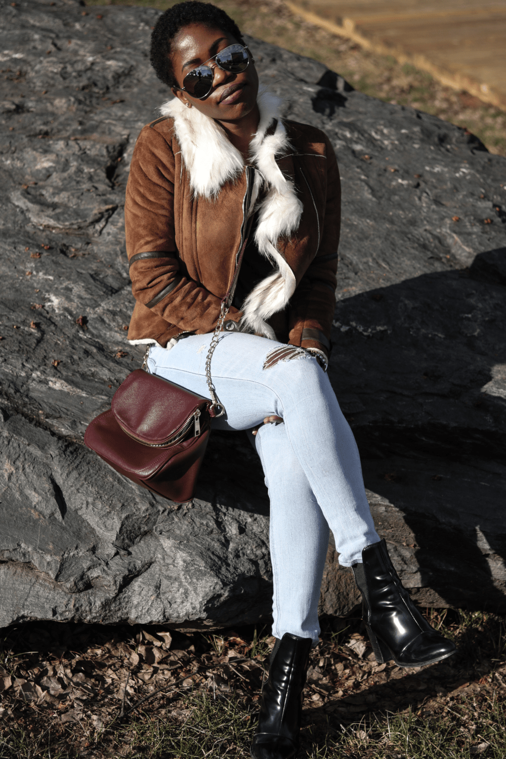 Faux suede jacket & booties