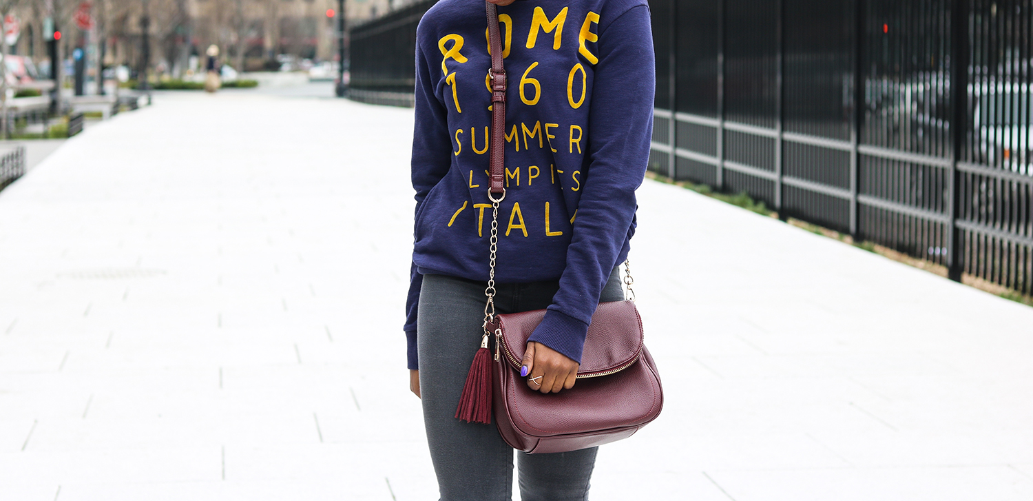 sweatshirt and burgundy cross body bag