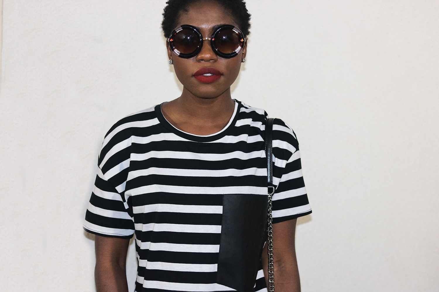 red lips with black and white look