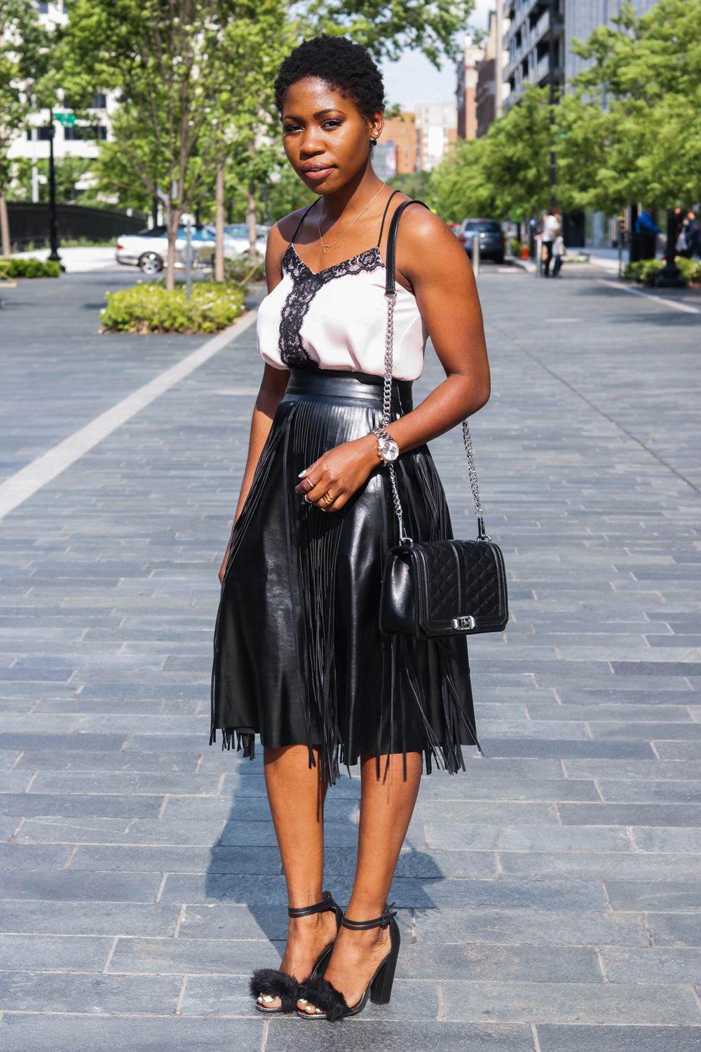 style synopsis black and pale pink ensemble
