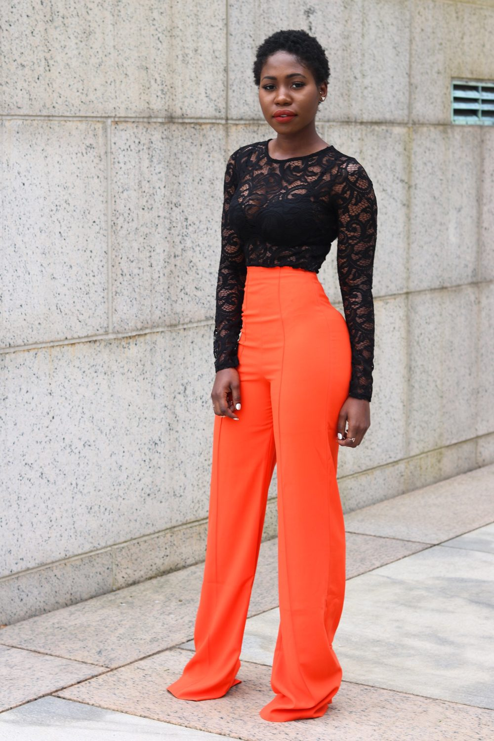 style synopsis flared pants and lace body suit