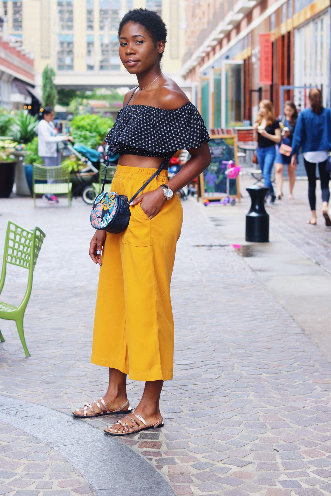 style-synopsis-mustard-culottes-print-off-the-shoulder-crop-top