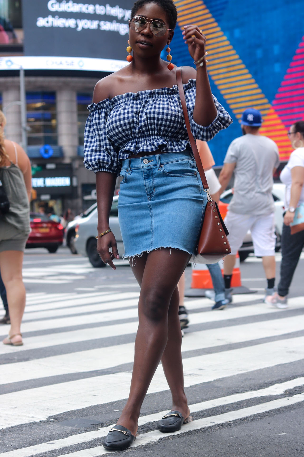 style-synopsis-gingham-crop-off-shoulder-top-and-denim-skirt