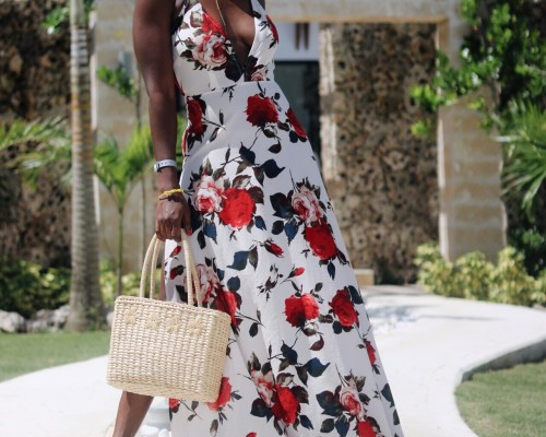 ALT=PLUNGING NECK FLORAL MAXI DRESS
