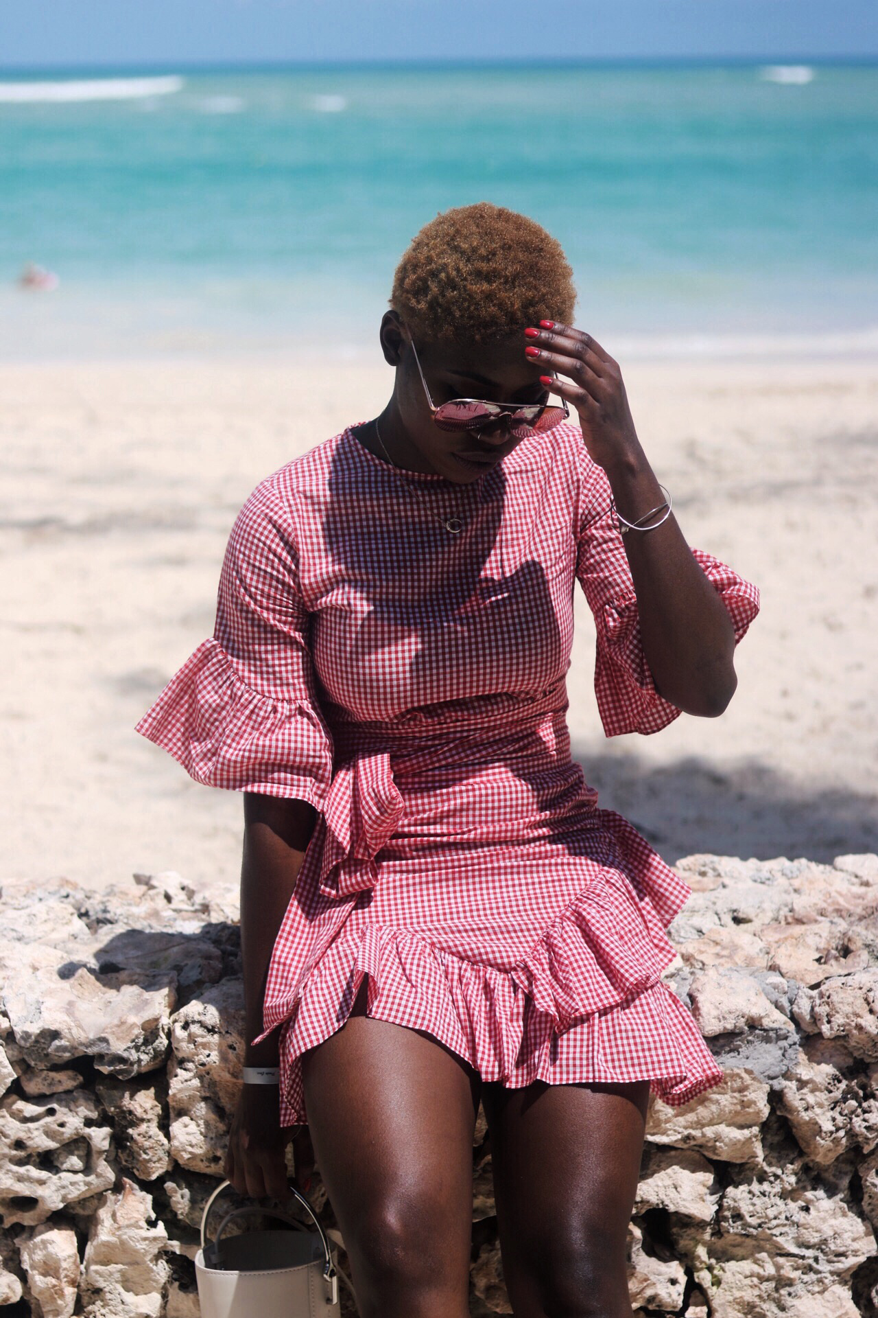 ALT= GINGHAM FRILL DRESS