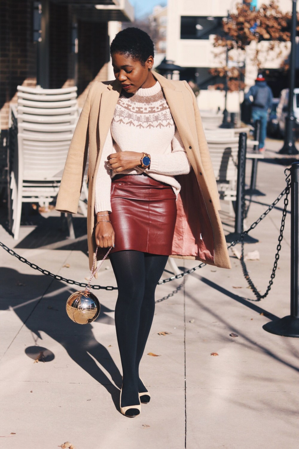 ALT= leather mini skirt and Mary Janes