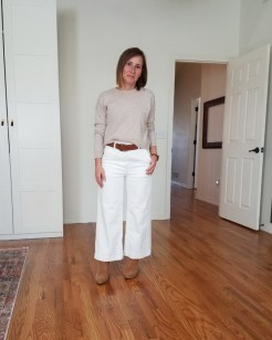 fall 10x10 outfit 1: everlane cashmere and wide leg pants