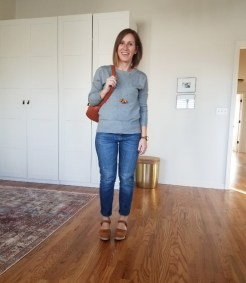 fall outfit 11_8 Brass sweater and clogs