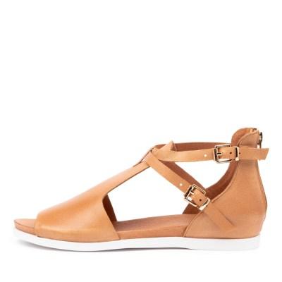 Django & Juliette Chessie Dk Tan Sandals Womens Shoes Casual Sandals Flat Sandals
