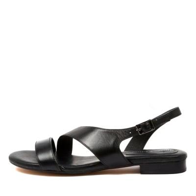 Django & Juliette Porsche Dj Black Sandals Womens Shoes Casual Sandals Flat Sandals