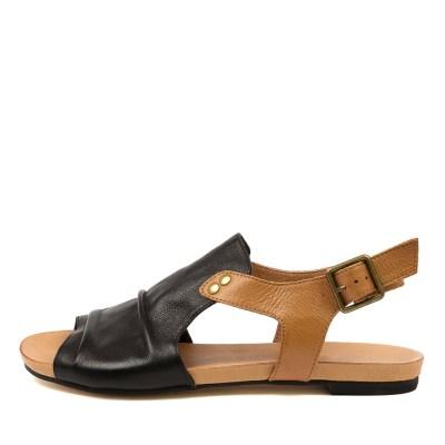 Django & Juliette Jered Djl Black Dk Tan Sandals Womens Shoes Casual Sandals Flat Sandals