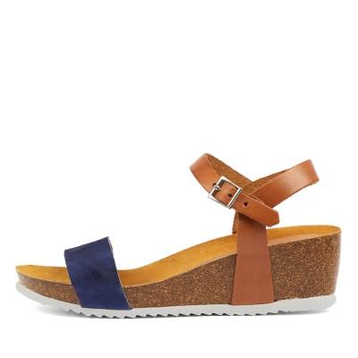 Sofia Cruz Laurinda Blue Tan Sandals