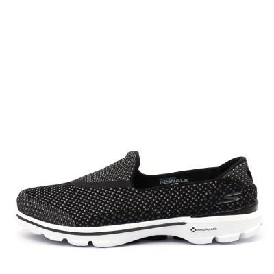 Skechers 14060 Go Walk 3 Go Knit Black White Sneakers