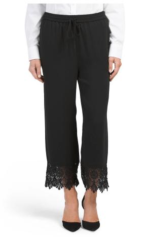August Silk Lace Trim Black Capris