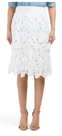 White Floral Lace Pencil Skirt