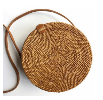 Round Rattan Basket Bag Straw Round Shoulder Bag
