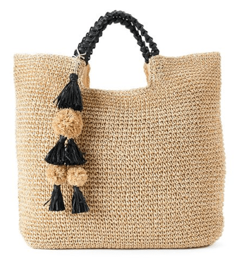 Straw Tote With Pom Poms Kohls