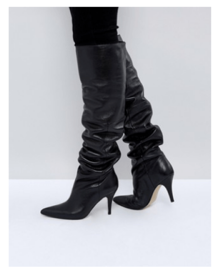 Asos Black Leather Slouch Boots Over the Knee