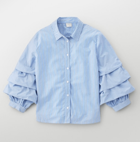 Targets A New Day Tiered Sleeve Shirt Blue/White
