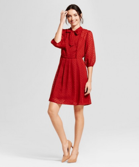 Targets A New Day Womens Ruffle Tie-Neck A-Line Dress