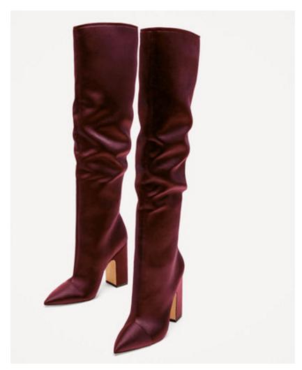 Zara sateen knee high satin slouch boots