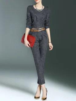Deep Gray Simple Two Piece Pockets Plain Jumpsuit