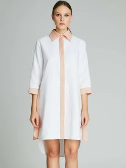 High Low Casual Shirt Collar 3/4 Sleeve Shirt Dress