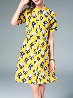 Yellow Printed Silk Geometric Short Sleeve Shirt Dress with Belt