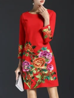 Long Sleeve Vintage Embroidered Crew Neck Midi Dress