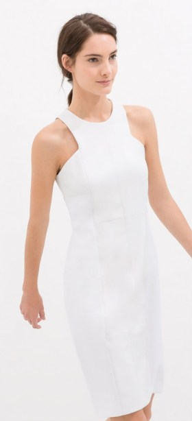 Zara white shift dress, $79.90