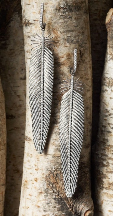 Sidney Gaber, itanium feather earrings with pave diamonds. $37,700.00