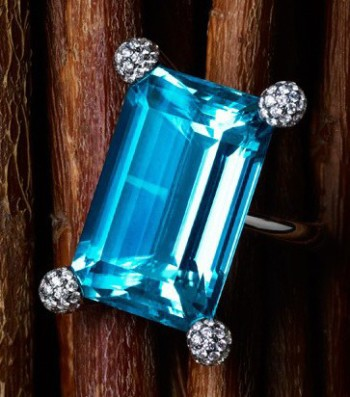 Sidney Garber, 18kt white gold ring with aquamarine and pave diamonds, black rhodium finish. Price Upon Request