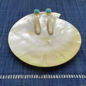 Off White Horn and Turquoise Teardrop Earrings