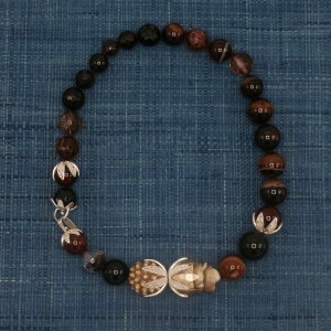 Onyx and Striped Agate Necklace with Carved Wood Accents