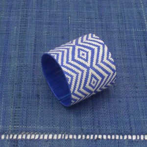 Woven Fiber Cuff (Periwinkle Blue and White)