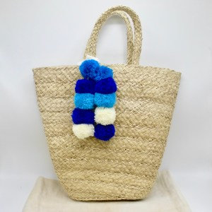 Straw Shopper with Blue, White, Turquoise Pom-Poms