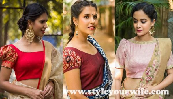 Puffed Sleeve blouse designs photos