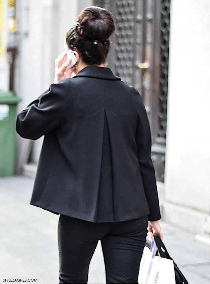 Pin up street style stajling za saki dan - punđa, sivi peplum top na točkice, crna pelerina i rukavice sa zakovicama, ulična moda Zagreb jesen 2015., Zlata Orlović by stylezagreb.com