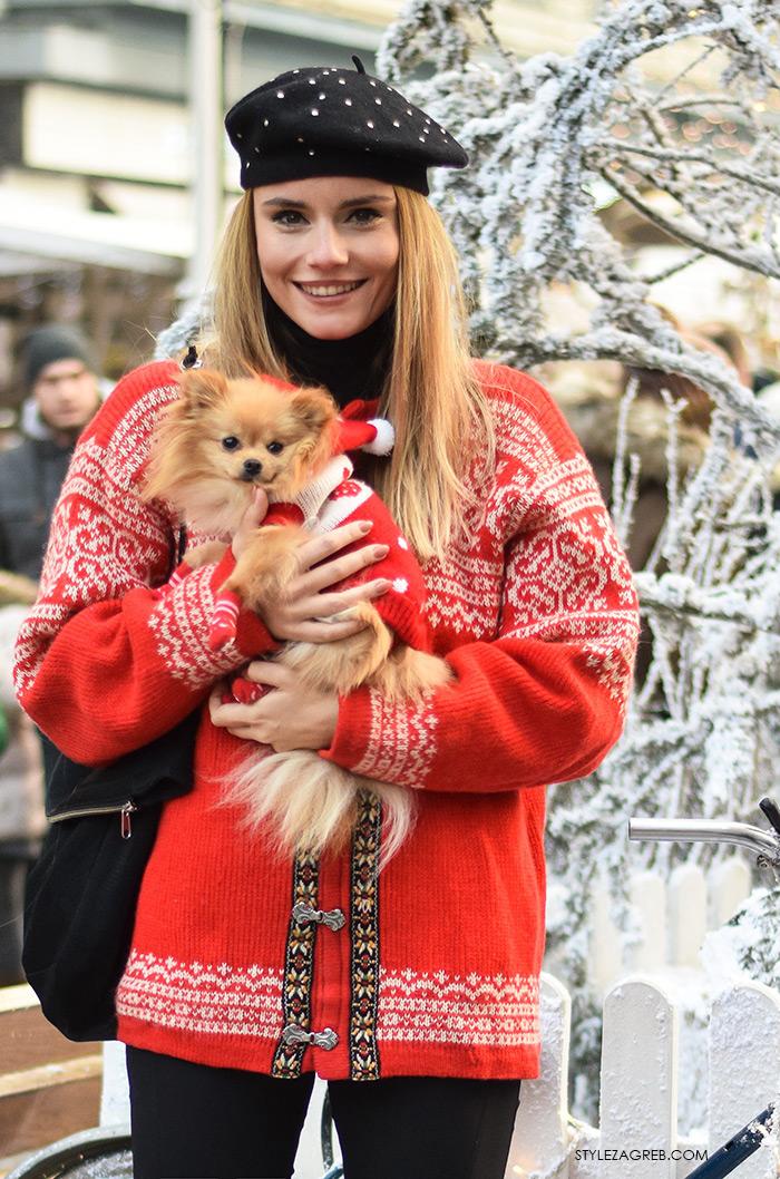 Zagreb in winter, Arhitektica Nina Mia Čikeš stil, ulična moda advent u Zagrebu, street style, moda zima crveni džemper i beretka, čizme s resama, johann franck, ulična moda StyleZagreb.com