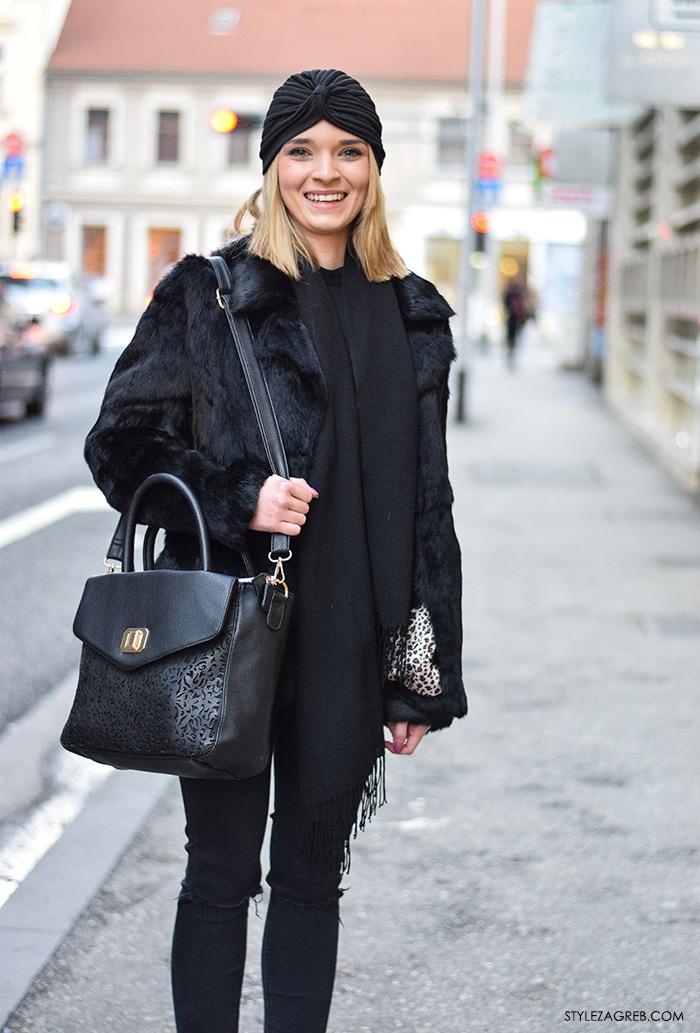 Moda: što se nosi prvih siječanjskih dana u Zagrebu, street style; crni turban, crna bundica, crne podrapane traperice, čizme gležnjače, Lucija Žukina