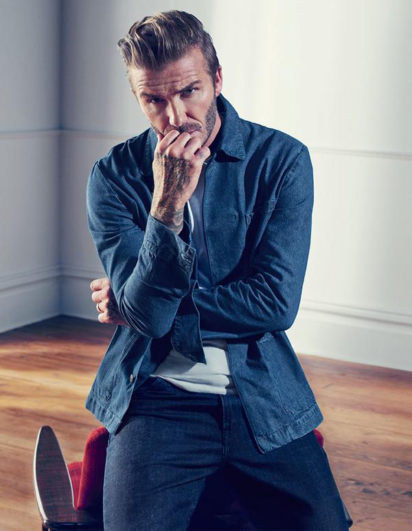 muška moda David Beckham H&M kako kombinirati traper košulju i traperice