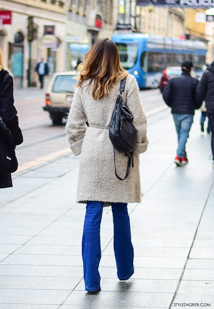 zagreb street style ulična moda trapezice kako nositi trapezice i sivo bijeli kaput stegnut u struku