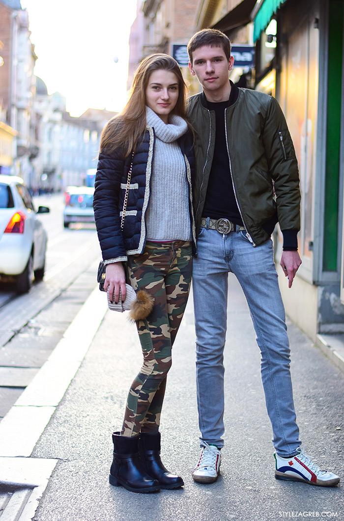 Moda: street style Zagreb, muška bomber jakna, ženska moda: dolčevita i skinny maskirne hlače stajling, Aleš i Sonja, ulična moda 2016 špica