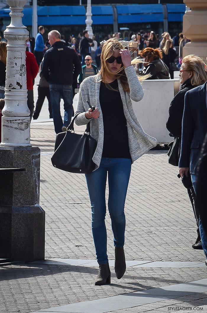 Zagreb street style proljeće ulična moda cure, siva vesta i skinny traperice