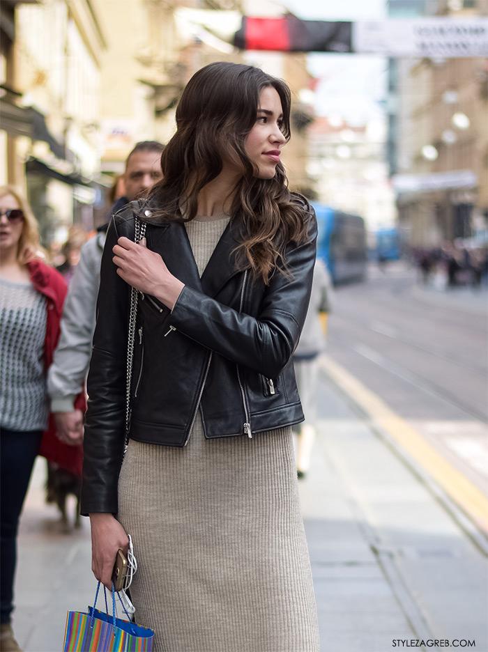 Paula Puškaš, studentica, bajkerska jakna i duga pletena haljina, žena proljetna moda fashion hr zagrebačka špica, street style Zagreb