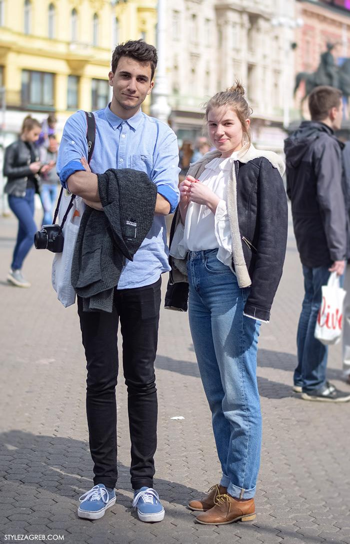 Tin Vučković i Lucija Batur, studenti medicine, proljetni street style Zagreb, žena moda fashion hr zagrebačka špica modne kombinacije