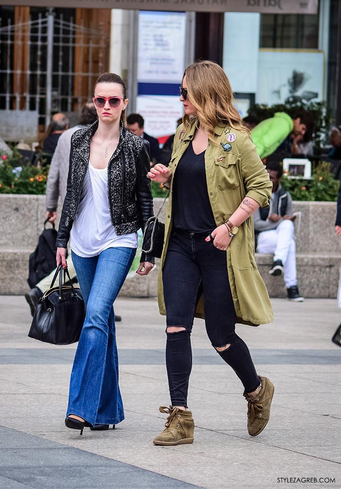 online trgovina zanimljive military jakne, street style Zagreb ulična moda, jakna maskirni uzorak, podrapane traperice žena fashion hr