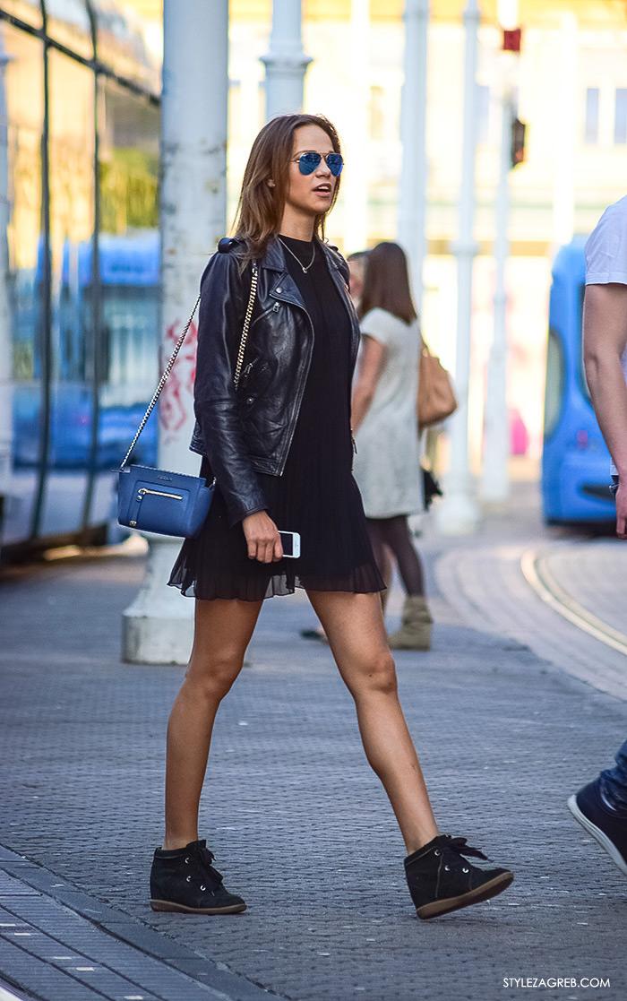 što djevojke odijevaju za večernji izlazak, street style Zagreb ulična  moda, cool outfit bajkerska
