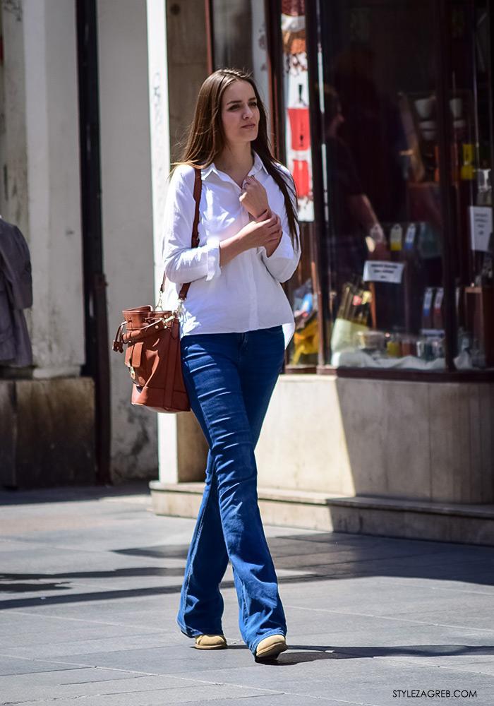 proljetna ulična moda Zagreb street style, kako kombinirati bijelu košulju i trapezice